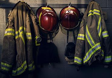 firefighter gear in fire station